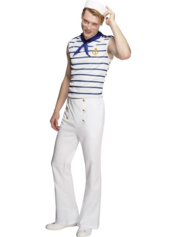Fever Male French Sailor Costume, White