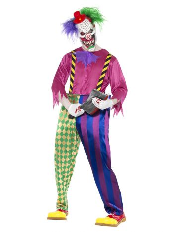 Kolorful Killer Klown Costume, Multi-Coloured