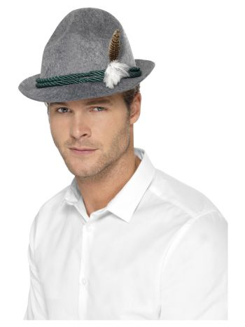 German Trenker Hat with Feather, Grey
