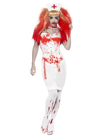 Blood Drip Nurse Costume, White