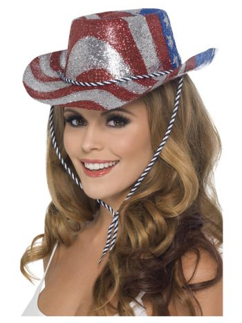 Cowboy Glitter Hat, Stars & Stripes, Red & Silver