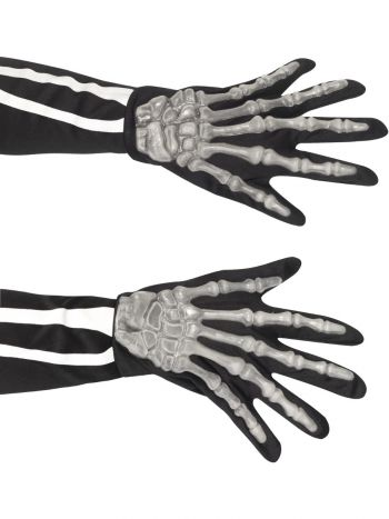 Skeleton Gloves, Adult, Black