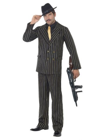 Gold Pinstripe Gangster Costume, Black