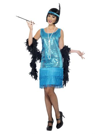 Flirty Flapper Costume, Teal