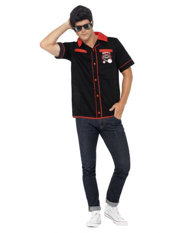 50s Bowling Shirt, Black
