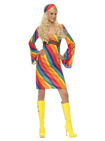 Rainbow Hippie Costume, Multi-Coloured