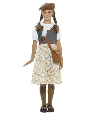 Evacuee School Girl Costume, Grey