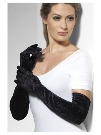 Velveteen Gloves, Black