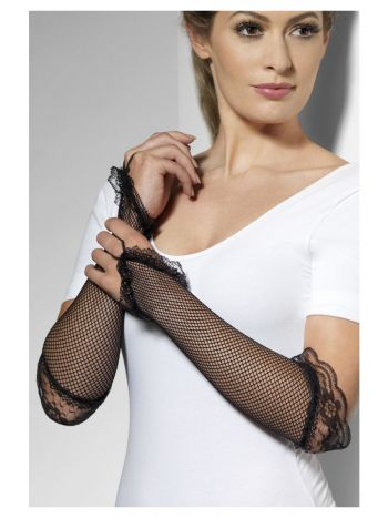 Fingerless Fishnet Gloves Black, Black