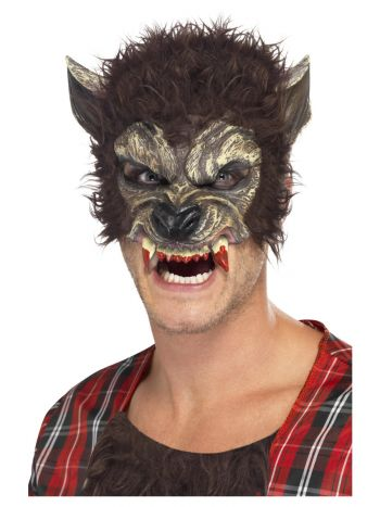 Werewolf Half Face Latex Mask, Brown