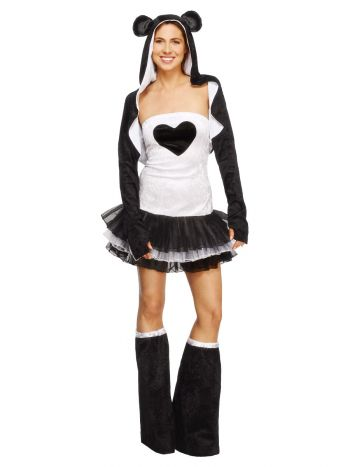 Fever Panda Costume, Tutu Dress, Black & White