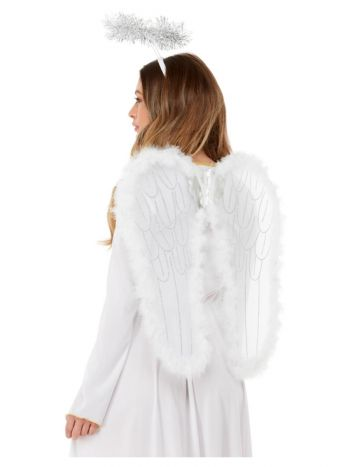 Angel Set, Wings & Halo with Marabou, White
