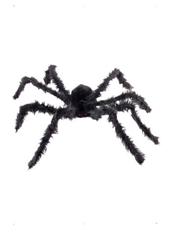 Giant Hairy Spider with Light Up Eyes, Black