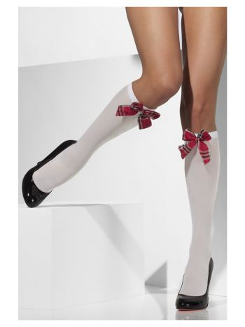 Opaque Knee High Socks, White