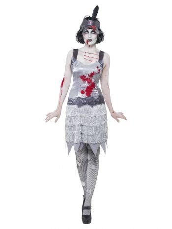 Zombie Flapper Dress Costume, Grey