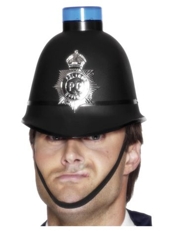 Police Helmet with Flashing Siren Light