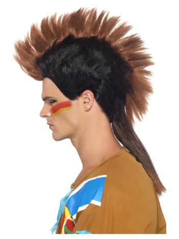 Native American Inspired Male Mohican Wig, Brown