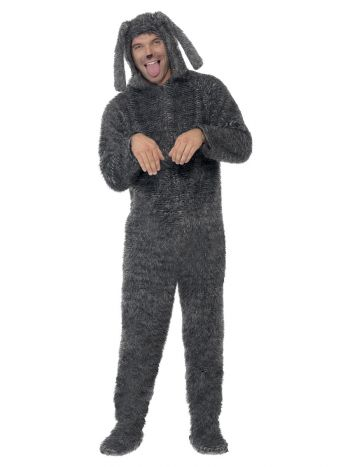 Fluffy Dog Costume, Grey