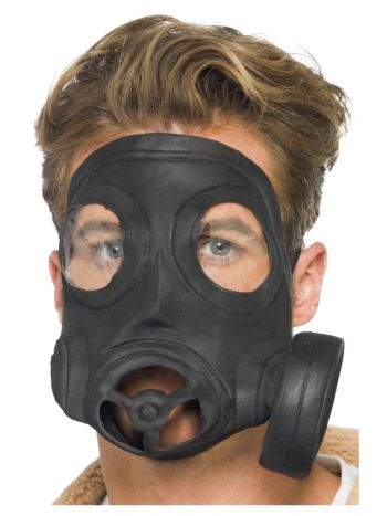 Gas Mask, Latex, Black