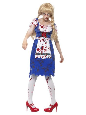 Zombie Bavarian Female Costume, Blue