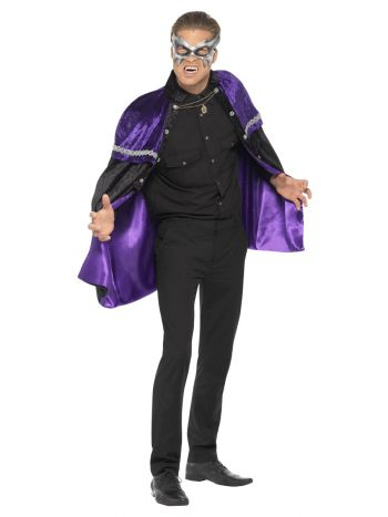 Phantom Masquerade Vampire Cape, Black & Purple