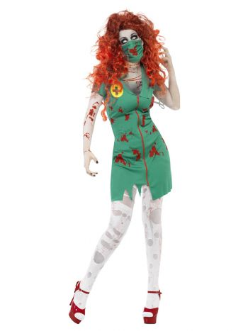 Zombie Scrub Nurse Costume, Green