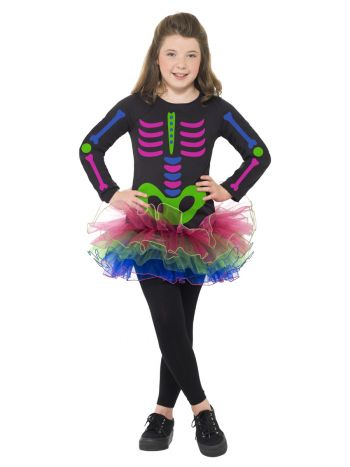 Neon Skeleton Girl Costume, Neon Multi-Coloured
