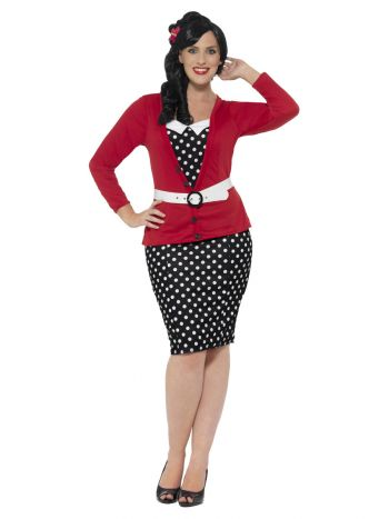 Curves 50s Pin Up Costume, Black & Red