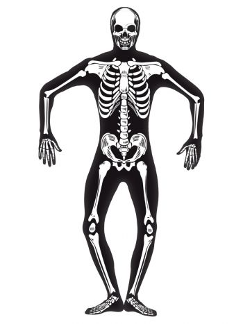 Skeleton Second Skin Costume, Black