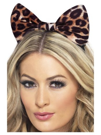 Cheetah Bow on Headband, Brown & Black