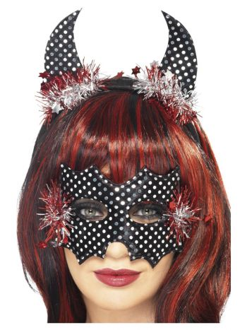 Devildina Mask and Horns Set, Black & Silver