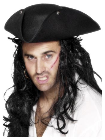 Pirate Tricorn Hat, Black