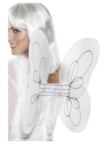 Angel Glitter Wings, White & Silver
