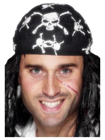 Pirate Bandana, Skull and Crossbones Design, Black