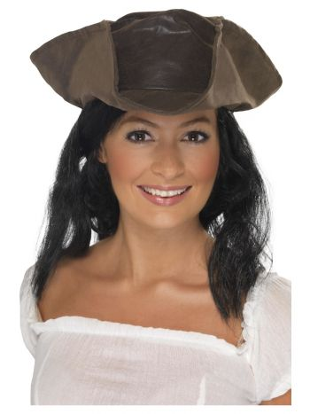Leather Look Pirate Hat, Brown