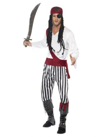 Pirate Man Costume, Black & White
