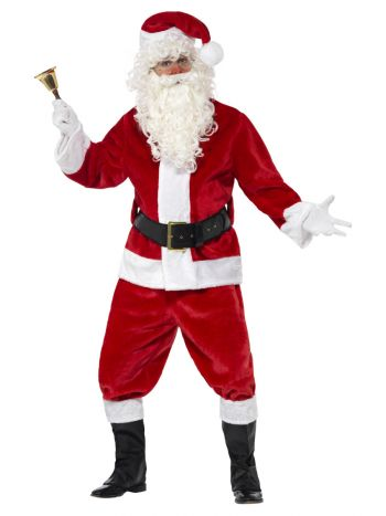 Deluxe Santa Costume & Hat, Red