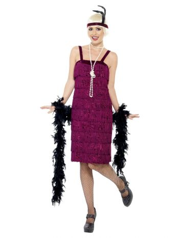 Jazz Flapper Costume, Burgundy