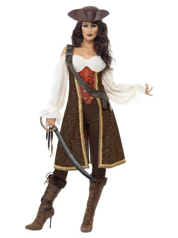 High Seas Pirate Wench Costume, Brown