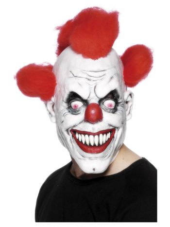 Clown 3/4 Latex Mask, Red & White