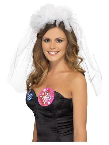 Hen Night Veil on Headband, White