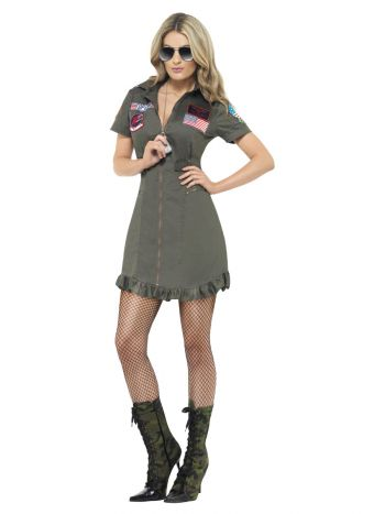 Top Gun Deluxe Ladies Costume, Green