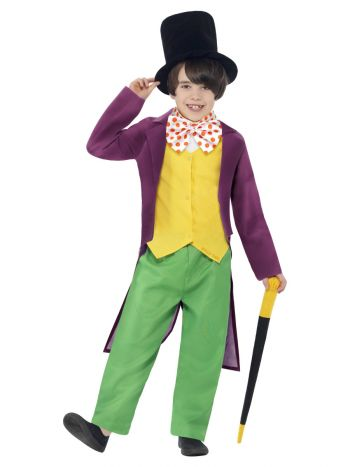 Roald Dahl Willy Wonka Costume, Green & Yellow