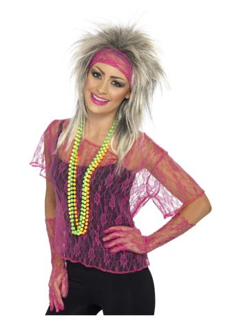 Lace Net Vest, Gloves & Headband, Neon Pink
