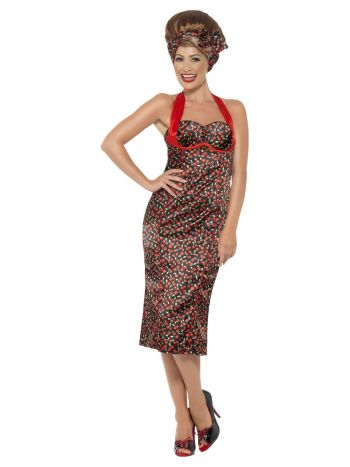 Rockabilly Costume, Cherry Print, Red
