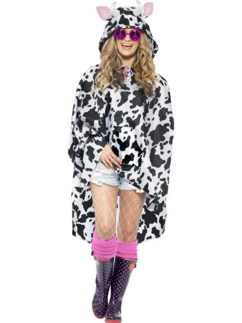 Cow Party Poncho, Black & White