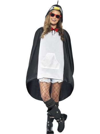 Penguin Party Poncho, Black & White