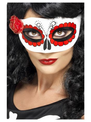 Mexican Day Of The Dead Eyemask, White & Red