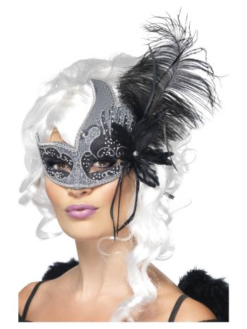 Masquerade Dark Angel Eyemask, Silver & Black