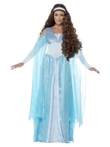 Deluxe Medieval Maiden Costume, Blue